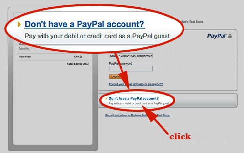 No paypal payment